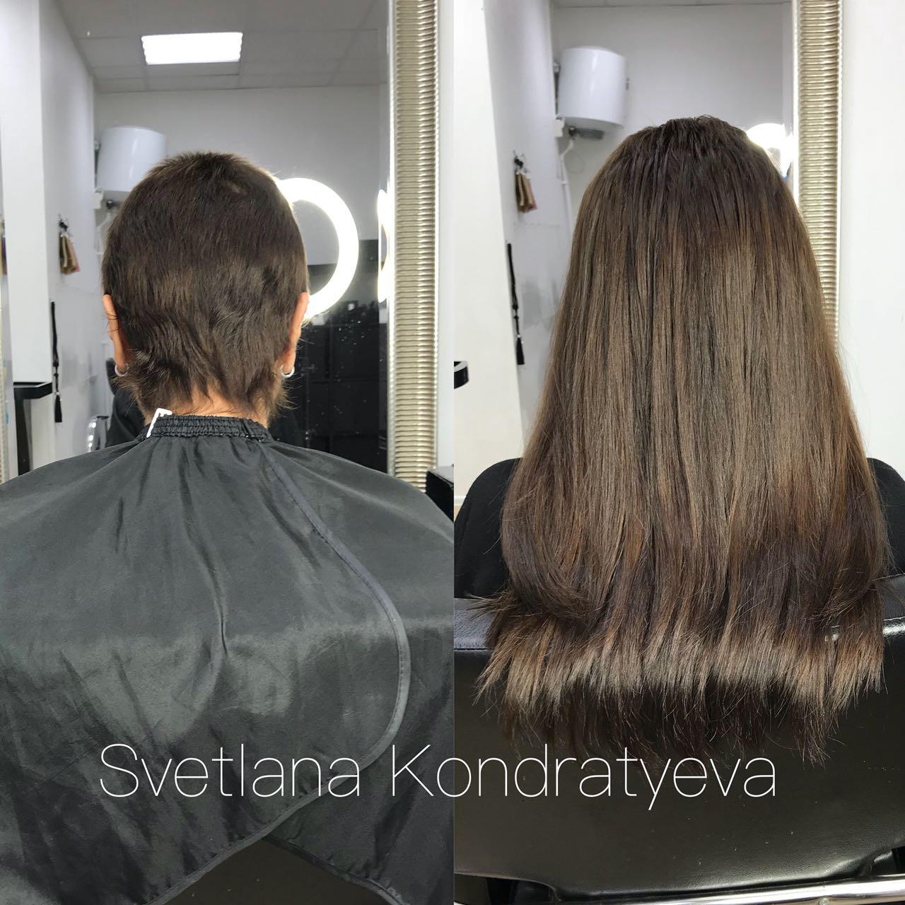 Наращивание на очень короткий волос