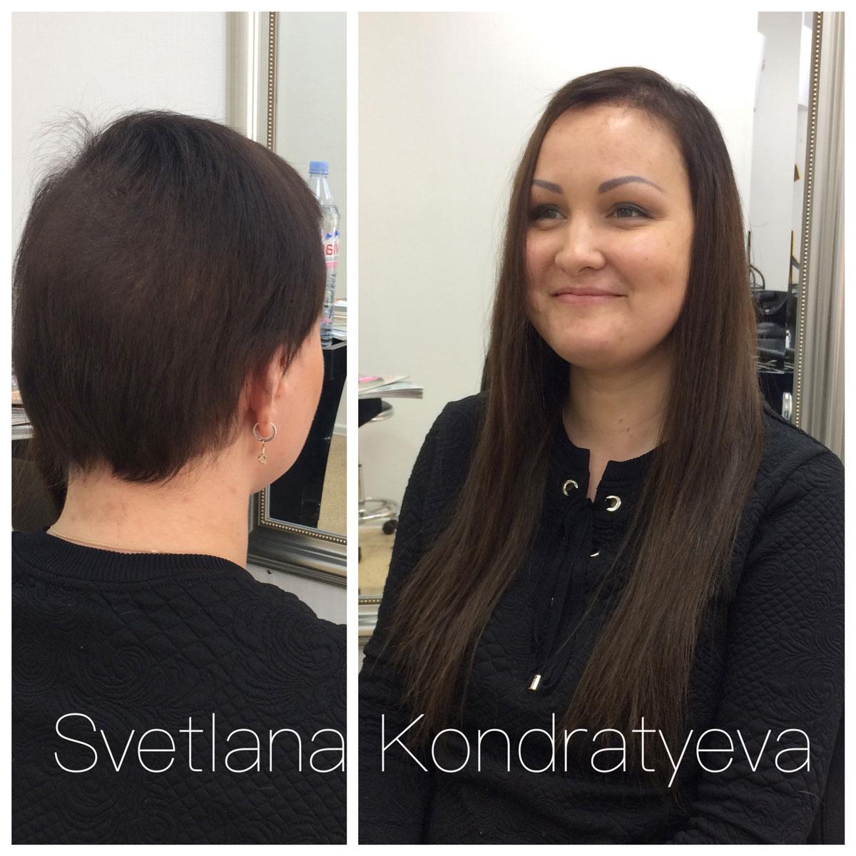 наращивание волос на короткие волосы 2 см
